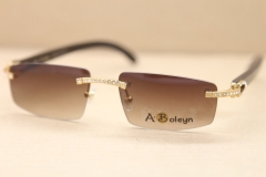 ea5381f68717 sunglasses men luxury brand Rimless Samll T8100926 diamond Sunglasses Brand  Buffalo Horn gold Sun glasses