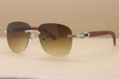bb213ab1f1ea Cartier Rimless Samll Diamond Sunglasses T8300680 Original Wood Sunglasses  in Gold Brown Lens