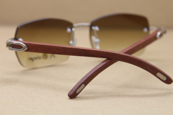 60ad50aa6b Product Name Cartier Rimless Sunglasses T8100905 High Quality Fashion Sunglasses  Wooden Glasses Rimless gold wood glasses in Gold Brown Lens