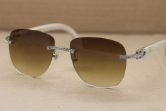 e7b506523b76 Cartier Rimless Samll Diamond Sunglasses T8300680 Original White Genuine  Natural Sunglasses in Gold Brown Lens