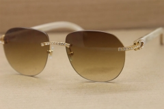 fa09e0477549 Cartier Rimless Samll Diamond Sunglasses T8300729 Original Sunglasses in  Gold Brown Lens