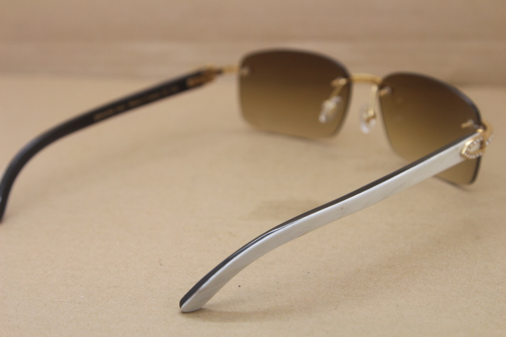 ddbf1ab03ba Product Name New Big Diamond Rimless Glasses 8200759 Black Mix White  Buffalo horn Rimless Sunglasses Genuine horn Sunglasses In Gold Brown