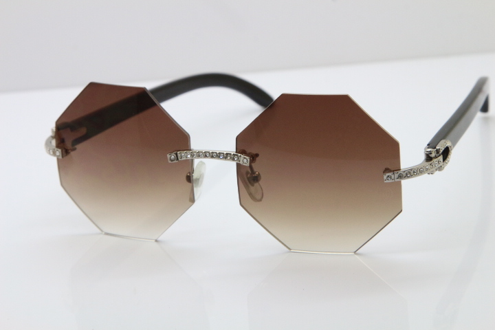 e77217c12c Product Name Cartier Rimless Smaller Big Stones 4189706 Black Buffalo Horn  Sunglasses in Silver Brown Lens Frame Size 54-18-140mm (Eye-Bridge-Temple)