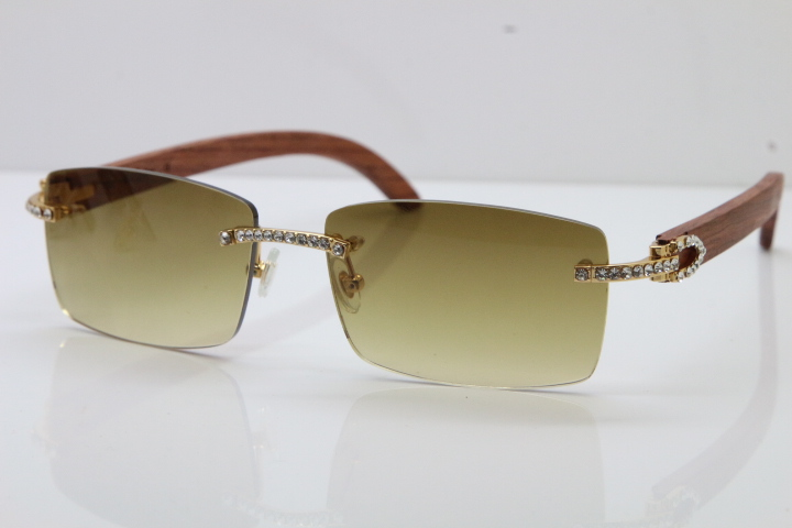 3a31d36908f Fulinglasses 2018 New Cartier Rimless Smaller Big Stones 3524012A Original  Carved Wood Trimming Lens Sunglasses in Gold Brown Lens