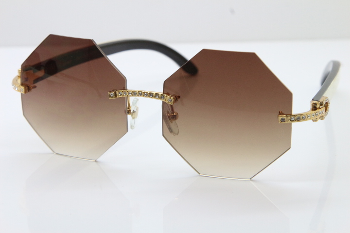 8d0b5ca387 Product Name Limited edition Cartier Rimless Sun Glasses luxury brand  Diamond 4189706 White Black Buffalo Horn Genuine horn Sunglasses in Gold  Brown Lens