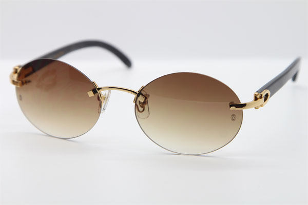 b03d882724 Product Name Hot Carter CT 5124018 18K Gold Rimless Genuine Natural Sun Glasses  Black Buffalo Horn Sunglasses in Gold Brown Lens Hot