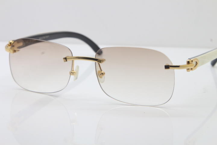 4f58ddccafd Wholesale High-end brand Carter Original Rimless T8100624 Black Mix White  Buffalo Horn sunglasses 18k gold in Gold Brown Lens Hot