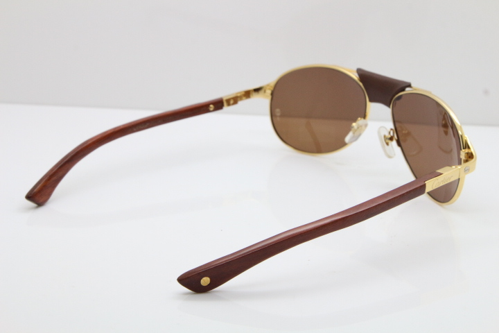 4ed363255f2bb Product Name Cartier 4480317 EDITION SANTOS-DUMONT Wood Sunglasses in Gold  Brown Lens Frame Size 58-16-130MM(Eye-Bridge-Temple) Colors Gold Brown Lens  or ...