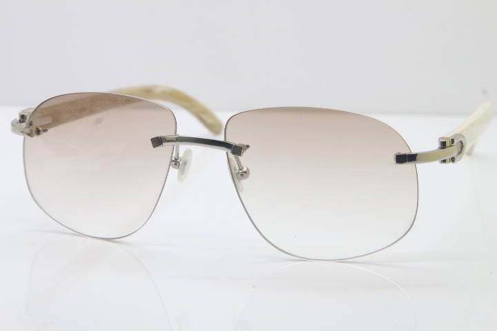 ca9b9c9ea3b Product Name Wholesale High-end brand Cartier T8100928 Rimless Original White  Buffalo Horn Sunglasses in Gold Brown Lens Hot