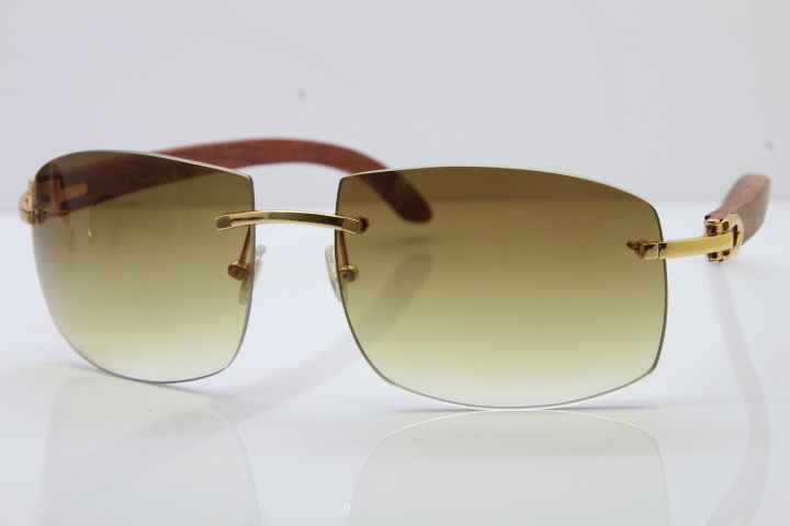 bba75cdc18 Product Name Hot Cartier CT4189705 Rimless Wood Sunglasses in Gold Brown  Lens Frame Size 62-18-135mm (Eye-Bridge-Temple)