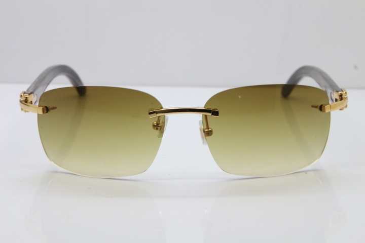 b66a4e13d2134 Product Name Cartier Rimless 8200497 Original Black Mix Gray Buffalo Horn  Sunglasses in Gold Brown Lens Limited edition. Frame Size 58-18-140mm ...