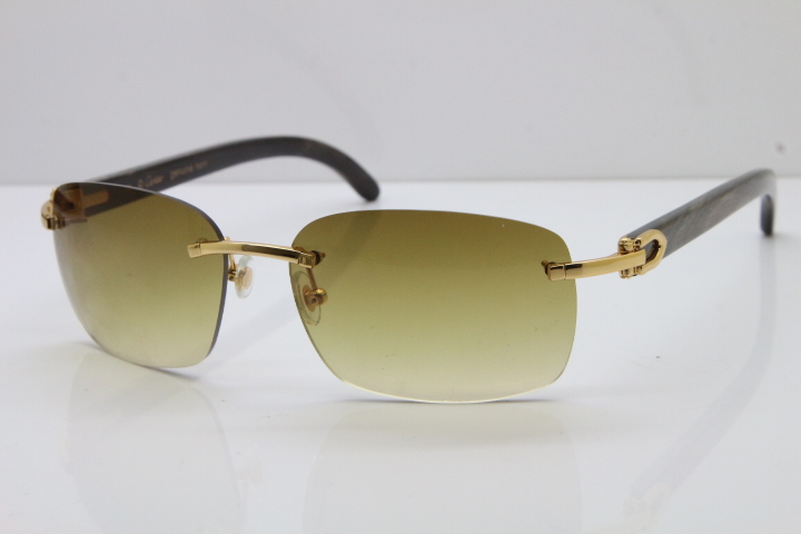 3aa7cb2b0c875 Cartier Rimless 8200497 Original Black Mix Gray Buffalo Horn Sunglasses in  Gold Brown Lens Limited edition