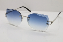 1b70f910ac Cartier Rimless Carved Lens 3886172 Sunglasses in Silver Blue Lens New