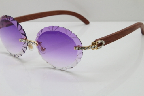 Cartier Big Stones Original Wood T8200761 Rimless Sunglasses In Gold Purple Carved Lens