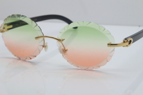Cartier Rimless Original Black Buffalo Horn T8200761 Sunglasses In Gold Green Mix Brown Carved Lens