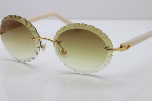 Cartier Rimless T8200761 Sunglasses In Gold Brown Carved Lens