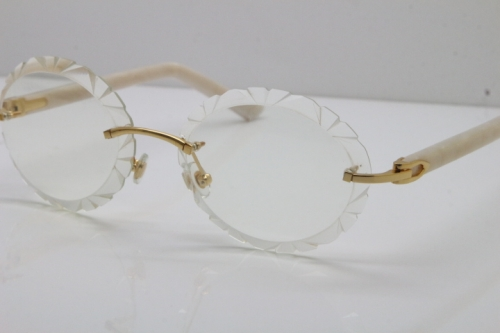 Cartier Optical Rimless T8200761 Eyeglasses In Gold Carved Lens
