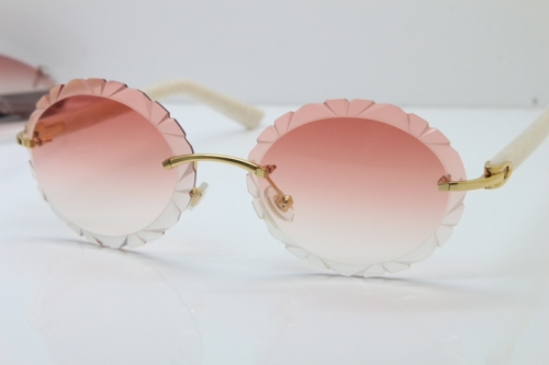 Cartier Rimless T8200761 Sunglasses In Gold Pink Carved Lens