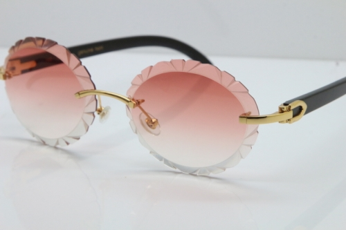 Cartier Rimless Original Black Buffalo Horn T8200761 Sunglasses In Gold Pink Carved Lens