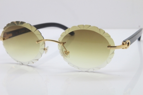 Cartier Rimless Original Black Buffalo Horn T8200761 Sunglasses In Gold Brown Carved Lens