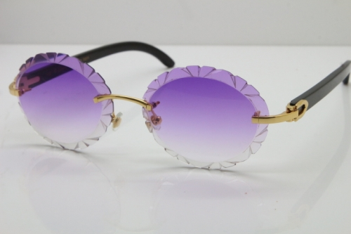 Cartier Rimless Original Black Buffalo Horn T8200761 Sunglasses In Gold Purple Carved Lens