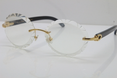 Cartier Optical Rimless Original Black Buffalo Horn T8200761 In Gold Carved Lens