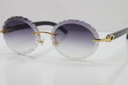 Cartier Rimless Original Black Buffalo Horn T8200761 Sunglasses In Gold Gray Carved Lens