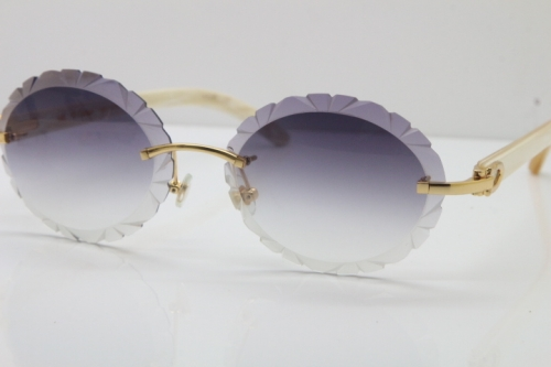 Cartier Rimless Original Genuine Natural Horn T8200761 Sunglasses In Gold Gray Carved Lens