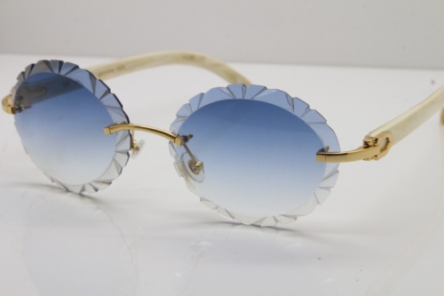 Cartier Rimless Original Genuine Natural Horn T8200761 Sunglasses In Gold Blue Carved Lens