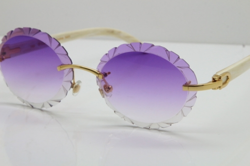 Cartier Rimless Original Genuine Natural Horn T8200761 Sunglasses In Gold Purple Carved Lens