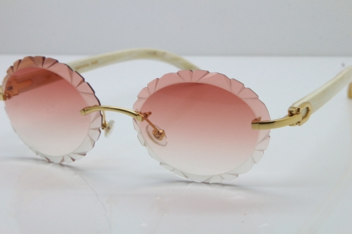 Cartier Rimless Original Genuine Natural Horn T8200761 Sunglasses In Gold Pink Carved Lens