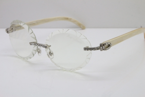 Cartier Big Stones White Genuine Natural Horn T8200761 Rimless Optical In Silver Transparent Carved Lens