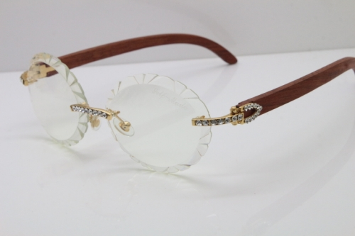 Cartier Big Stones Carved Wood T8200761 Rimless Optical In Silver Transparent Carved Lens
