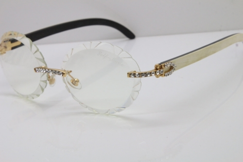 Cartier Big Stones White Inside Black Buffalo Horn T8200761 Rimless Optical In Silver Transparent Carved Lens