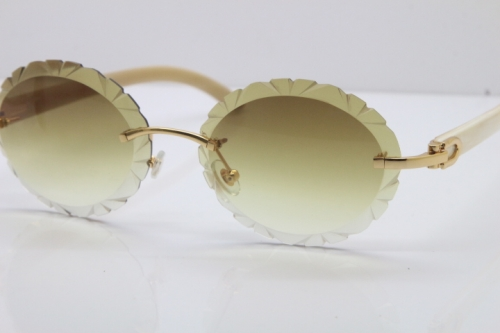 Cartier Rimless Original Genuine Natural Horn T8200761 Sunglasses In Gold Brown Carved Lens
