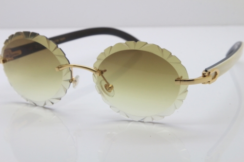 Cartier Rimless Original White Inside Black Buffalo Horn T8200761 Sunglasses in Gold Brown Carved Lens