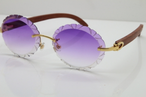 Cartier Rimless Original Wood T8200761 Sunglasses in Gold Purple Carved Lens