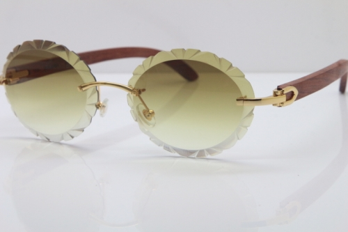 Cartier Rimless Original Wood T8200761 Sunglasses in Gold Brown Carved Lens