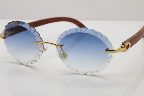 Cartier Rimless Original Wood T8200761 Sunglasses in Gold Blue Carved Lens