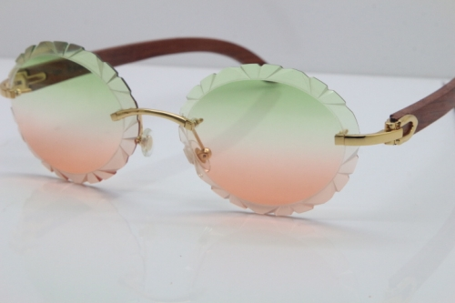 Cartier Rimless Original Wood T8200761 Sunglasses in Gold Green Mix Brown Carved Lens