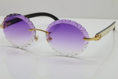 Cartier Rimless Original White Inside Black Buffalo Horn T8200761 Sunglasses in Gold Purple Carved Lens