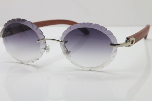 Cartier Rimless Original Wood T8200761 Sunglasses in Gold Gray Carved Lens