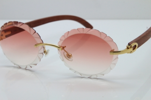 Cartier Rimless Original Wood T8200761 Sunglasses in Gold Pink Carved Lens