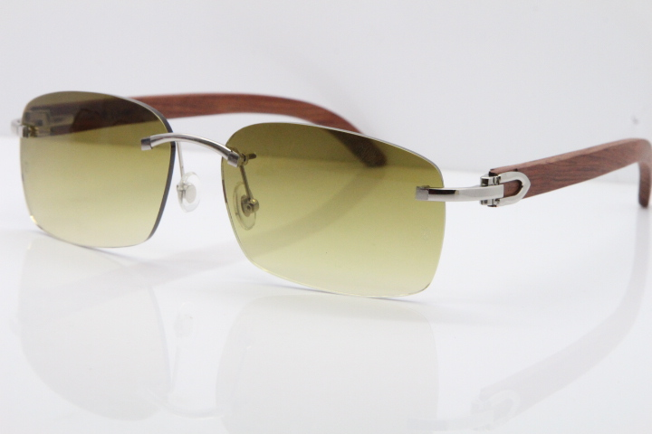 0fc8bb173bb Product Name Cartier Rimless 8200759 Original Wood Sunglasses in Gold Brown  Lens Frame Size:60-18-135mm (Eye-Bridge-Temple)