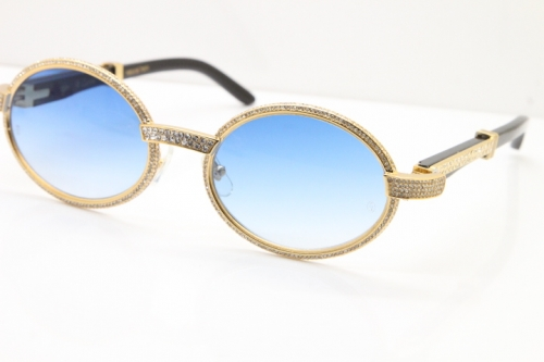 Cartier T7550178 Black Buffalo Horn Smaller Big Stones Vintage Sunglasses In Gold Blue Lens(Limited edition)