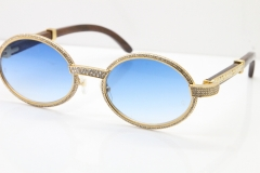 Cartier T7550178 Wood Smaller Big Stones Vintage Sunglasses In Gold Blue Lens(Limited edition)