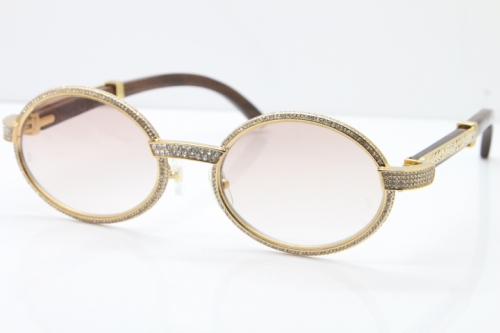 Cartier T7550178 Wood Smaller Big Stones Vintage Sunglasses In Gold Brown Lens(Limited edition)