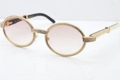 Cartier T7550178 White Inside Black Buffalo Horn Smaller Big Stones Vintage Sunglasses In Gold Brown Lens(Limited edition)