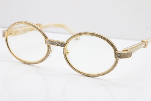 Cartier Smaller Big Stones 7550178 White Genuine Natural Horn Eyeglasses Vintage In Gold(Limited edition)