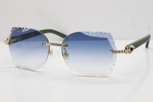 Cartier Rimless T8200762 Big Diamond Green Aztec Arms Sunglasses In Gold Blue Lens